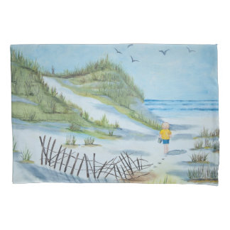 watercolor beach paint with child and pail pillowcase