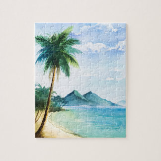 Watercolor Beach Palm 8x10 Jigsaw Puzzle
