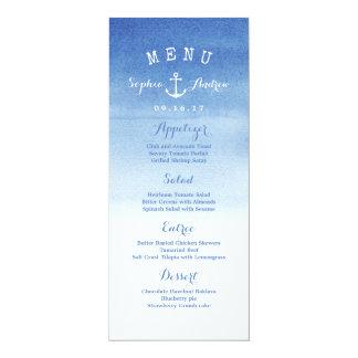 """Watercolor beach wedding nautical anchor menu card 4"""" x 9.25"""" invitation card"""