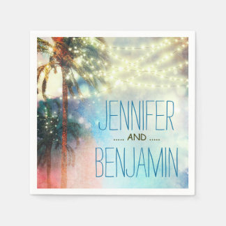 watercolor beach wedding string lights paper napkins