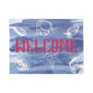 Watercolor Beach Welcome Blue Red Doormat