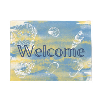 Watercolor Beach Welcome Blue Yellow Doormat