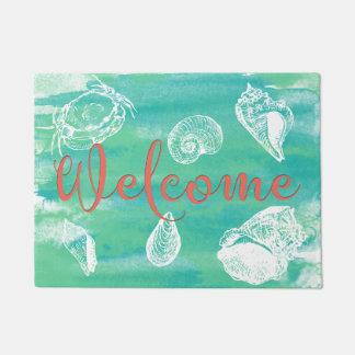 Watercolor Beach Welcome Teal Green Coral Doormat
