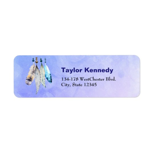 Watercolor Beads 'n Feathers on Blue Purple Back Return Address Label