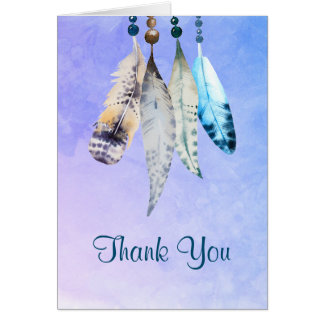 Watercolor Beads 'n Feathers Thank You Card