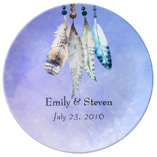 Watercolor Beads 'n Feathers Wedding Commemorative Porcelain Plates