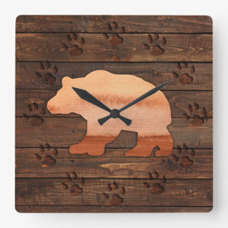 Watercolor Bear, Carved Paws, Rustic Wall Clock