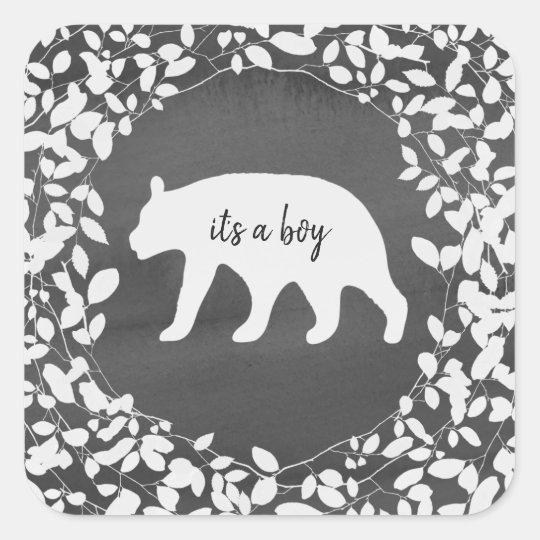 Watercolor Bear Cub Foliage Baby Shower Square Sticker