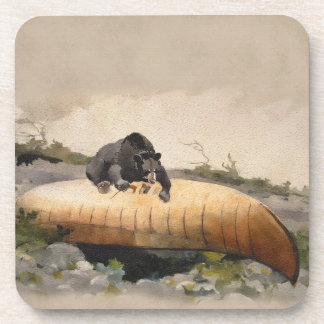 Watercolor Bear on a Canoe Vintage Painting Coasters
