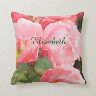 Watercolor Beautiful Pink English Roses Flowers Throw Pillow