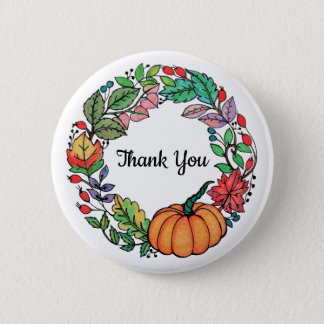 Watercolor Beautiful Pumpkin Wreath with leaves 2 Inch Round Button