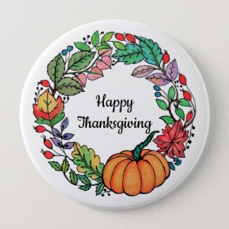 Watercolor Beautiful Pumpkin Wreath with leaves 4 Inch Round Button