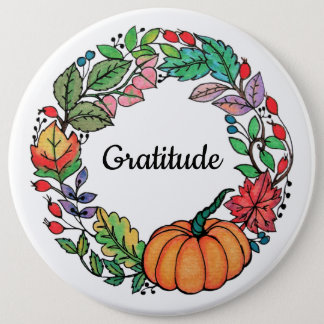 Watercolor Beautiful Pumpkin Wreath with leaves 6 Inch Round Button