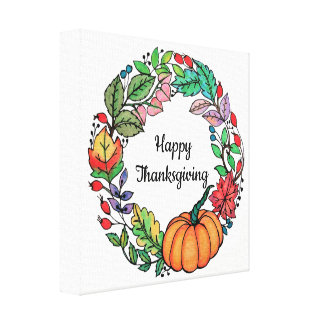 Watercolor Beautiful Pumpkin Wreath with leaves Canvas Print