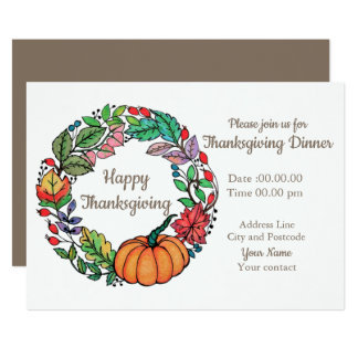 Watercolor Beautiful Pumpkin Wreath with leaves Card