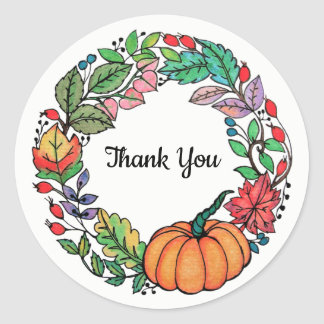 Watercolor Beautiful Pumpkin Wreath with leaves Classic Round Sticker