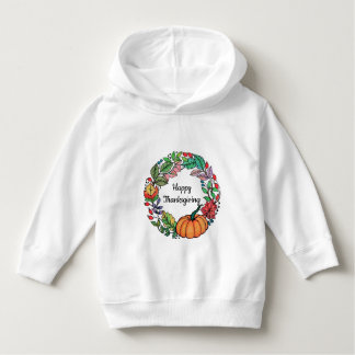 Watercolor Beautiful Pumpkin Wreath with leaves Hoodie