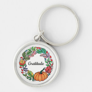 Watercolor Beautiful Pumpkin Wreath with leaves Keychain