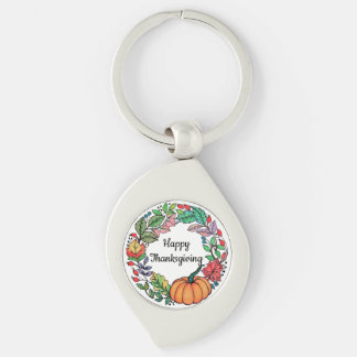 Watercolor Beautiful Pumpkin Wreath with leaves Keychain