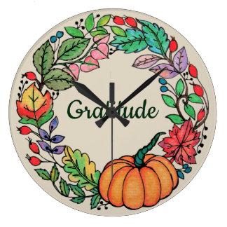 Watercolor Beautiful Pumpkin Wreath with leaves Large Clock