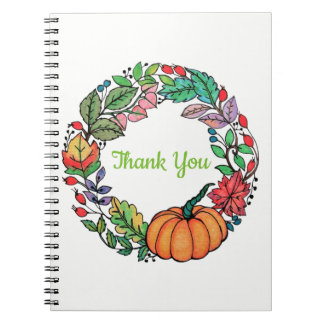 Watercolor Beautiful Pumpkin Wreath with leaves Notebook