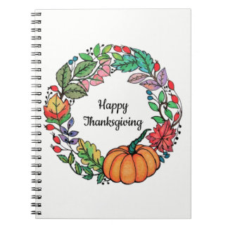 Watercolor Beautiful Pumpkin Wreath with leaves Notebooks
