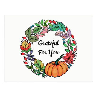Watercolor Beautiful Pumpkin Wreath with leaves Postcard