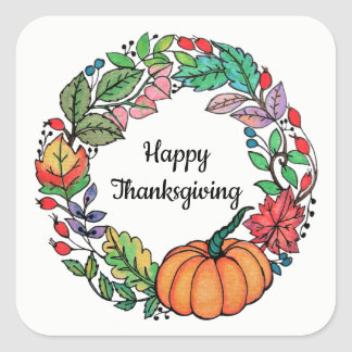 Watercolor Beautiful Pumpkin Wreath with leaves Square Sticker