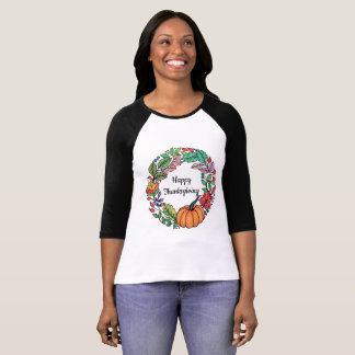 Watercolor Beautiful Pumpkin Wreath with leaves T-Shirt