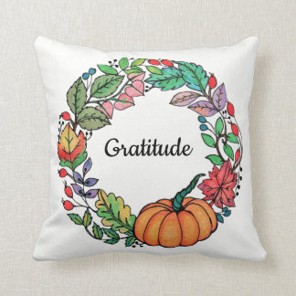 Watercolor Beautiful Pumpkin Wreath with leaves Throw Pillow