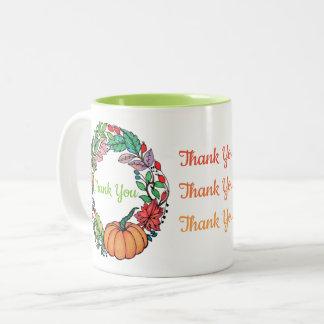 Watercolor Beautiful Pumpkin Wreath with leaves Two-Tone Coffee Mug