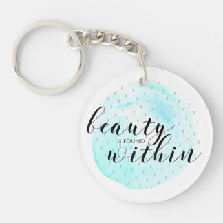 Watercolor Beauty Quote Keychain