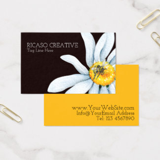 Watercolor Bee on Flower Personalized Business Card