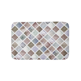 Watercolor . Beige and grey squares . Bath Mat