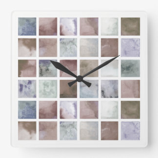 Watercolor . Beige and grey squares . Square Wall Clock