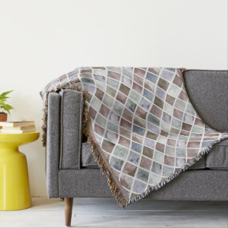 Watercolor . Beige and grey squares Throw Blanket