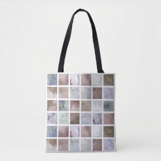 Watercolor . Beige and grey squares . Tote Bag