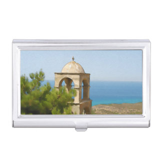 Watercolor bell tower business card holder
