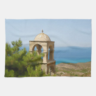 Watercolor bell tower hand towels