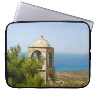 Watercolor bell tower laptop sleeve