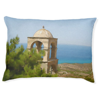 Watercolor bell tower large dog bed