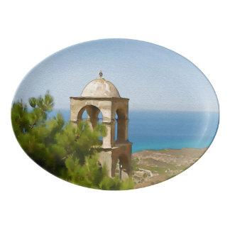 Watercolor bell tower porcelain serving platter