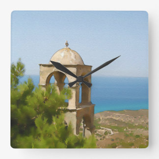 Watercolor bell tower square wall clock