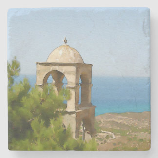 Watercolor bell tower stone coaster
