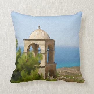 Watercolor bell tower throw pillow
