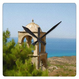 Watercolor bell tower wall clocks