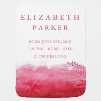Watercolor Berries Birth Announcement Baby Blanket