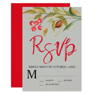 Watercolor Berries & Branches RSVP Response Card
