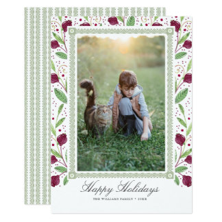 Watercolor Berry Frame Happy Holidays Photo Card