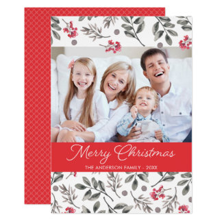 Watercolor Berry Leaves Christmas Holiday Photo Card